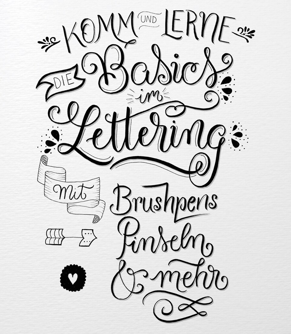 Basiskurs Lettering mit Brushpens, Pinseln & Co