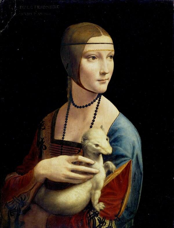 Leonardo, Dame mit dem Hermelin, 1489/1490, Holz, 54,7×40,3cm, Czartoryski-Museum, Krakau
